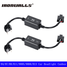 Ironwalls H4 H7 H8 H11 H13 9005 9006 Led Car HeadLight Bulbs Canbus Fog Lamp Decoder Resistor Wiring Harness Adapters DC 12/24V