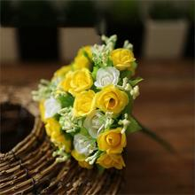 21 Heads Artificial Flowers Mini Rose for Decoration Home Room Wedding Decor Silk Flowers  Free Shipping