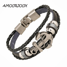 AMOURJOUX Handmade Retro Leather Woven Anchor Charm Bracelet Men Vintage Braided Bracelets Bangles Male Jewelry