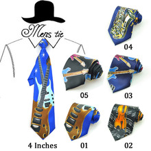 "New 4 Inches Wide 17 Fashion ""Music Guitar/Violin/Sachs/Suona/Drums"" Design Mix Polyester Woven Classic Men`s Party Tie gift Tie"