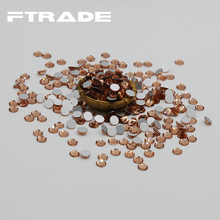 Best quality SS30 Flat Back Champagne Color 3d Nail Art decorations Non Hot Fix Glue on rhinestones for nails stone bead diy