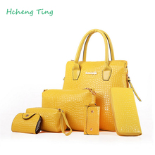 Women handbag present 5 pieces bag yellow/red/dark blue/black/rose red/beige 6 color choose super value totes(China)