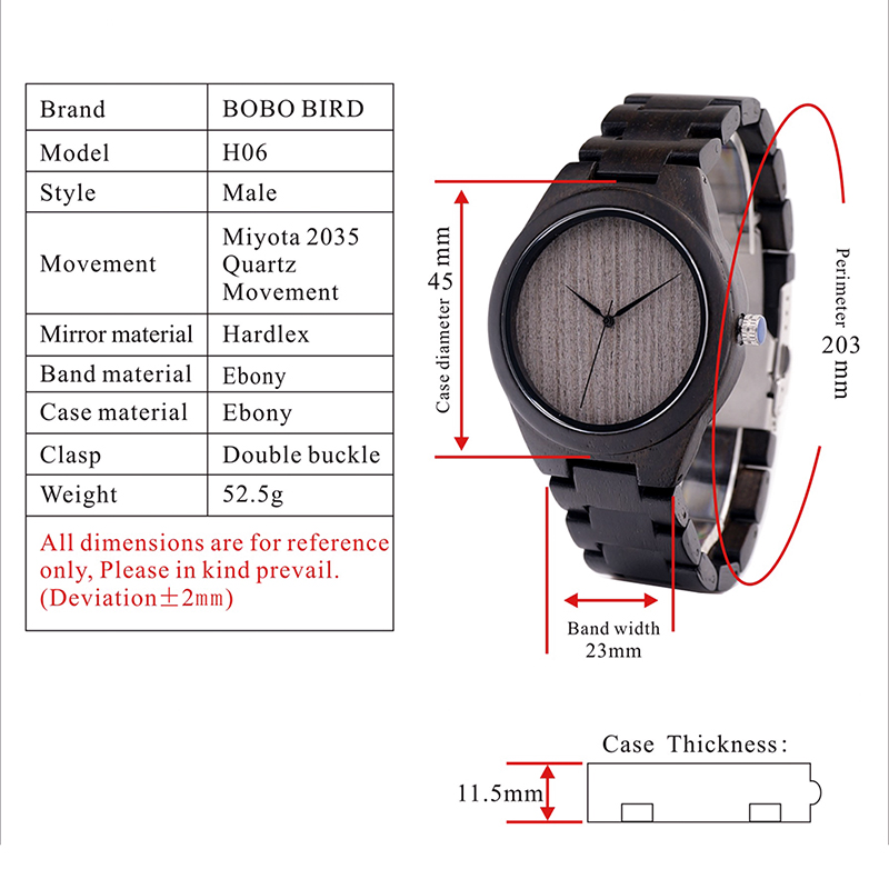BOBO BIRD Mens Black Ebony Wooden Watches Wood Links Causal Quartz Wrist Watch in Gift Box custom logo 2