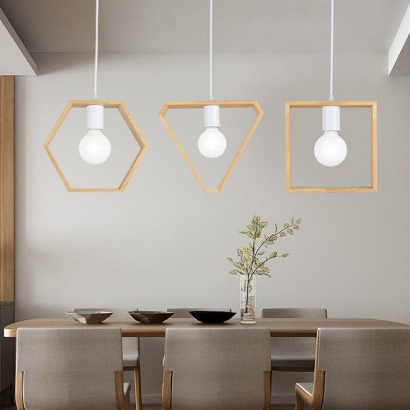 wood Pendant Lights bedroom restaurant Art colorful restaurant coffee restaurant lighting Creative solid  E27 lamp holder IDERAN<br>