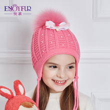 ENJOYFUR Beautiful Bow-Knot Knitted Hat Girl Rhinestones Pearl Winter Hats For Girls Thick Cotton Caps Children Autumn Beanies