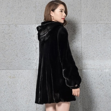2017 new fur fur hooded mink long section mink coat water mink jacket Korean version(China)