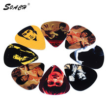 SOACH 10pcs/Lot 1.0mm acoutsic guitar pick thickness martial arts pattern String instrument accessories guitar picks parts(China)
