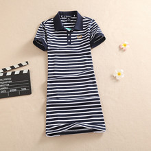 New Fashion 2017 Embroidery Stripe Polo Print Dress Slim Casual Cotton T Shirt Femme Summer Evening Robe Women Ete Mini Vestidos