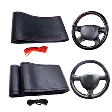 Universal 38cm Anti-slip DIY Car Steering Wheel Cover Case With Needles and Thread Auto Steering wheel protect Car Styling