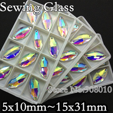 TopStone All Sizes Crystal AB Color Navette Sew on stone 5x10mm,6x12,7x15,9x18,13x22,15x31 horse eye Flatback Sewing Beads