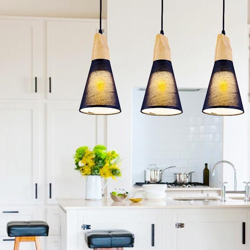 LukLoy Modern Pendant Lights Natural Wooden Pendant Lamp Lighting Fixture for Cafe Bar Living Room Kitchen Island Lamp<br>