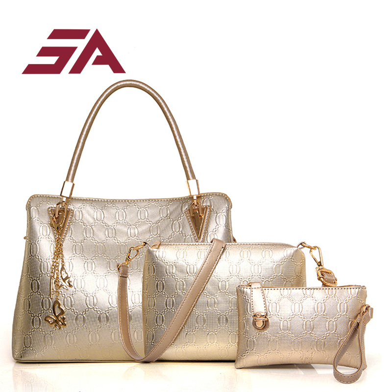 SA 2017 Fashion Women Bag PU Leather Shoulder Bag Female Top-Handle Bags Handbag+Messenger Bag+Purse 3 Sets<br>