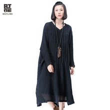 Outline Black Loose Linen Dress for Women Plus Size Spring Vintage V-Neck Dresses in Casual Long Side Slit Dresses L163Y036