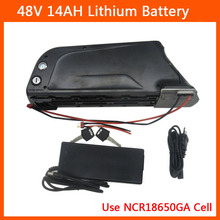 750W 48V Scooter Battery 500W 48 V 14AH Electric Bike lithium Battery NCR18650GA 3500MAH cell with USB Port BMS 54.6V 2A Charger