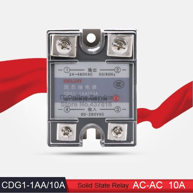 High Quality AC-AC 10A Solid State Relay Single Phase SSR 10A  Input 80-280VAC Output 24-480VAC (CDG1-1AA/10A)<br><br>Aliexpress