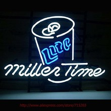 New Miller Lite Neon Sign Time Neon Bulbs Led Signs Shop Display Custom Real Glass Tube Handcrafted Decorated Attract Sign17X14