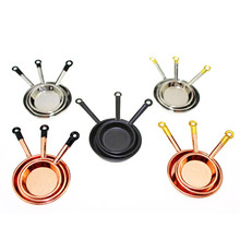 1/12 Scale 3pcs Dollhouse Miniature Metal Frypan Frying Pans Cooking Pot Cookware Kitchen Accessory DIY Craft Parts