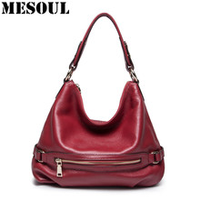 Design Fashion Bag Women Genuine Leather Cross Body Shoulder Bag Satchel Handbag Purses Ladies Bucket Bag brown/red/black/purple(China)