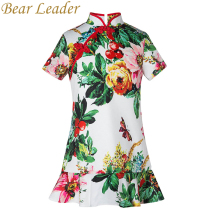 Bear Leader Girls Dress 2017 New Girls Clothes Chinese Style Children Cheongsam Short Sleeves Flowers Printing Dress For 4-14Y