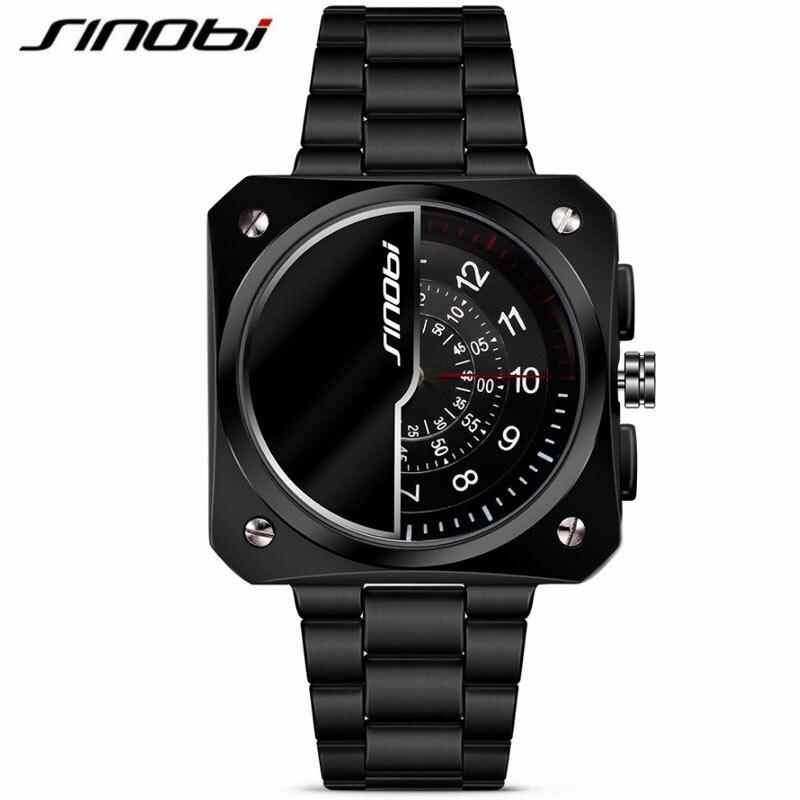 SINOBI Mens casual Watches Men Sport Black Stainless Steel Quartz Watch Gents Tungsten Business Wristwatch male clock hours gift<br><br>Aliexpress