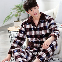 2017 New Winter Spring Keep Warm Thick Coral Fleece Men Pajamas Set of Sleep Tops & Shorts Flannel Sleepwear Thermal Nightgown(China)