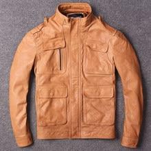 Männer stehen collor echtem leder jacke mit taschen orange schwarz slim fit  echt leder jacke männer schaffell jacke männlichen 2eb1a4f875