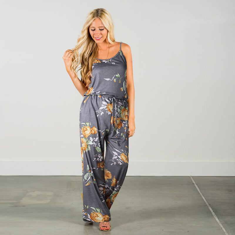 Spaghetti Strap Jumpsuit Women 2018 Summer Long Pants Floral Print Rompers Beach Casual Jumpsuits Sleeveless Sashes Playsuits 5