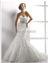 DAW1073  New Style Tulle Beaded Sashes Long Trumpet  Applique Bridal Gown Wedding Dresses Patterns