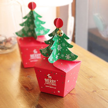 Christmas Tree Modeling Candy Red Boxes Biscuits cookies West Point chocolate Gift package box 50PCS Does not contain bells(China)