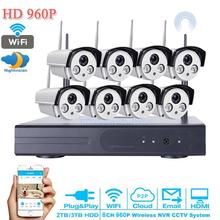 HD video surveillance 960P IR CUT Outdoor Waterproof Security Camera System 8Channel CCTV DVR system NVR Kit USB 5G WIFI 2TB