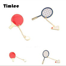 Timlee X028  Free shipping Cute Cartoon Table tennis Badminton Brooch Pins,Fashion Jewelry Wholesale
