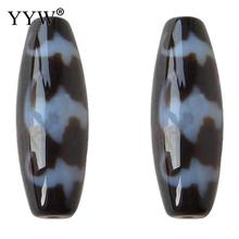 Natural Tibetan Dzi Beads, Oval, five blessings & two tone, Grade AAA, 13x38mm, Hole:Approx 2mm, Sold By PC(China)
