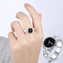2017 New Silver Plated Jewelry Watching Shape Black Enamel Fashion Jewelry Wedding Finger Ring for Women Anel Feminino Wholesale