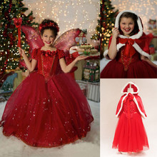 Hot Selling 4-10 Years Winter Baby Girl Dresses Blue&Red Children Party Dress Wedding Girls Clothing Princess Baby Kids Clothes(China)
