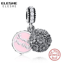 ELESHE 925 Sterling Silver Cherry Blossom Daisy Orchid Flower Beads Pink Enamel Charm Fit Original Pandora Bracelet  DIY Jewelry