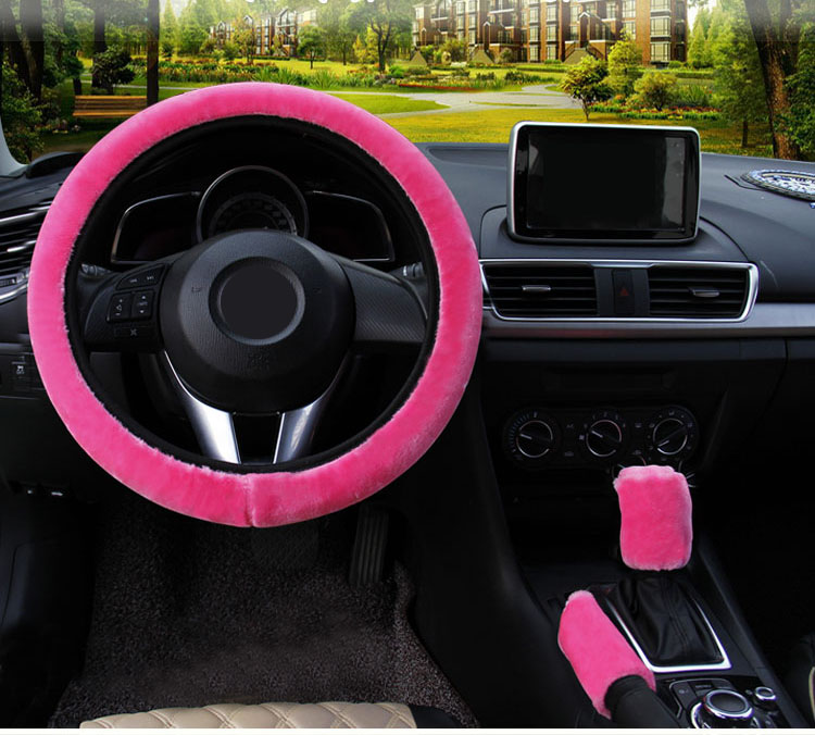 winter Steering Wheel Cover+Handbrake cover + car Automatic Covers / Warm Super thick Plush Gear Shift Collar 1