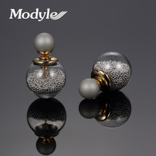 Modyle new design Gold-Color fashion jewelry thick glass beads stud earrings double ball earrings for women Christmas gift(China)