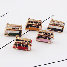 Min order 30pcs/lot alloy drop oil gold-color cartoon bus/cars shape metal floating locket charms diy jewelry keychain pendants(China)