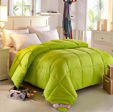 Green/beige/pink feather quilt king/queen/full/twin size goose down comforter quilt cover double cotton