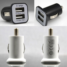 New Micro 3.1A Double Dual USB Car Charger Adapter For IPhone 7 6 Plus 5s 4/ipod/ipad/Samsung/All Mobile Phone 200pcs/lot