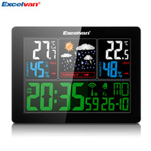 EXCELVAN COLOR Wireless Weather Station With Forecast Temperature Humidity EU Plug Alarm and Snooze Thermometer Hygrometer Clock(China)