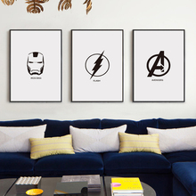 Movie Marvel Comics Superhero LOGO Black and White Simple Poster Image A4 Art Print Canvas Mural Children Bedroom Home Decor(China)