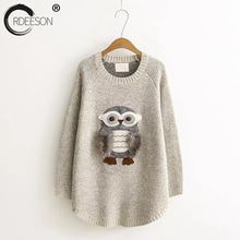 ORDEESON Hair Group Owl Embroidery Sweater Fall 2017 Fashion Women Sweaters and Pullovers Jumper O Neck Long Feminino Sweaters(China)