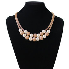 F&U Gold Color Chain with Endline European Popular Style Gold and Silver Color Ball Pendant Necklace for Women(China)