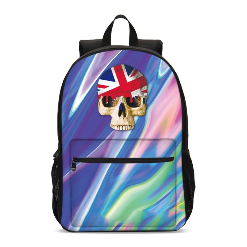 VEEVANV New Girls School Backpacks skull National flag 3D Large Bagpack High Quality Laptop Shoulder Bags Fashion Mochila Casual