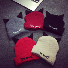 HT563 HOT NEW Women Winter Hat Evil Cat Ear Beanie Cap Winter knit beanie hat striped gorra plain bonnet casquette bone gorros(China)
