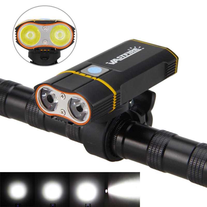 6000LM Front Bike Headlight 2X XM-L2 LED Cycling Light Built-in 6000mAh Rechargeable Battery +Handlebar Mount +USB line<br>