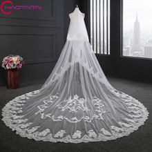 Bridal Veils Luxury Full Flowers 2017 Bridal accessories Long 3.5 M Lace Applique Cathedral width 3cm Wedding Veil With Comb(China)