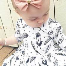 Retail 2017 New Baby Girl Clothes White Feather Elegant Pattern Cotton Half Sleeve Knee Length Dress Toddler Girl Clothing(China)
