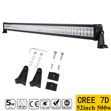 1pcs 7D 500W 52inch CREE Chips Straight LED Light Bar Offroad Led Work Driving Light Bar Combo Beam 12v 24v Truck SUV ATV 4x4